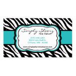 Teal Turquois Zebra Print Hair Salon Business Card