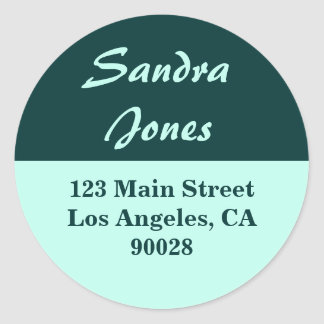 teal turquoise address label classic round sticker