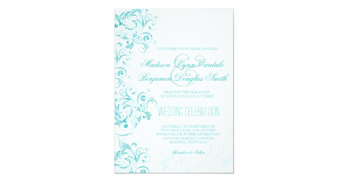 Flourish Wedding Invitations: Teal Turquoise Aqua Flourish Wedding Invitations