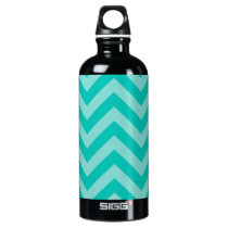 Teal Turquoise Aqua Large Chevron ZigZag Pattern Water Bottle
