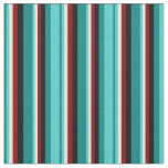 [ Thumbnail: Teal, Turquoise, Beige, Maroon & Black Stripes Fabric ]