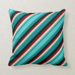 [ Thumbnail: Teal, Turquoise, Beige, Maroon & Black Stripes Throw Pillow ]