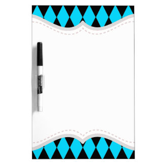 Teal Turquoise Blue and Black Diamond Pattern Dry-Erase Board