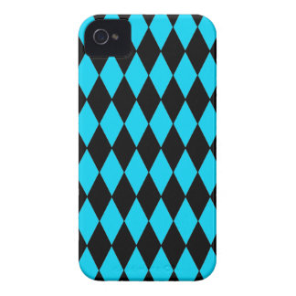 Teal Turquoise Blue and Black Diamond Pattern iPhone 4 Cover