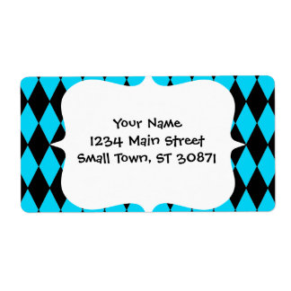 Teal Turquoise Blue and Black Diamond Pattern Shipping Label