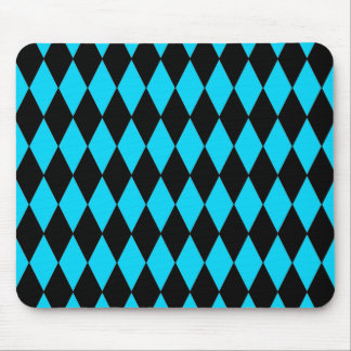 Teal Turquoise Blue and Black Diamond Pattern Mouse Pad