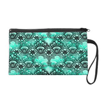 Teal Turquoise Blue and Black Lace Damask Pattern Wristlet Purses