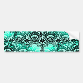 Teal Turquoise Blue and Black Lace Damask Pattern Bumper Sticker