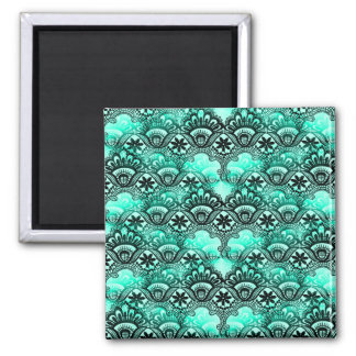 Teal Turquoise Blue and Black Lace Damask Pattern Magnet