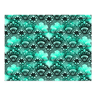 Teal Turquoise Blue and Black Lace Damask Pattern Postcard
