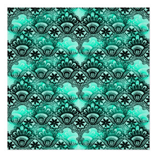 Teal Turquoise Blue and Black Lace Damask Pattern Poster