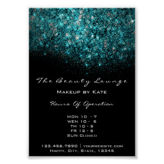 Teal Turquoise Blue Black White Confetti Sequin Poster