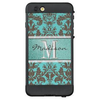 Teal Turquoise blue & Brown Damask,  Personalised LifeProof NÜÜD iPhone 6 Plus Case