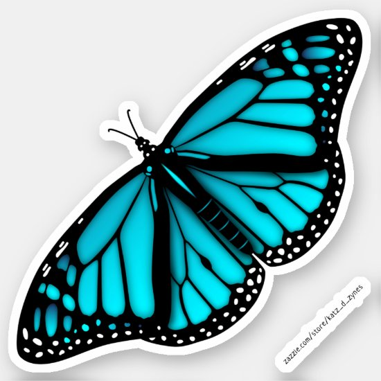 teal turquoise blue butterfly sticker