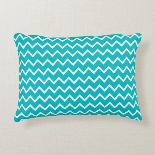 Teal Turquoise Blue Chevron Zigzag Pattern Accent Pillow