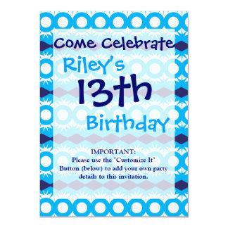 Teal Turquoise Blue Geometric Pattern Design 4.5x6.25 Paper Invitation Card