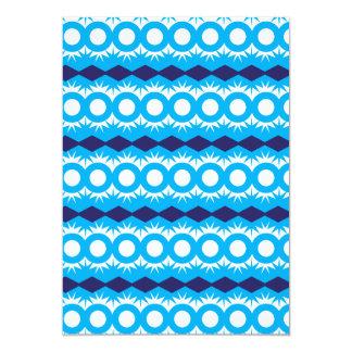 Teal Turquoise Blue Geometric Pattern Design 5x7 Paper Invitation Card