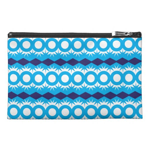 Teal Turquoise Blue Geometric Pattern Design Travel Accessory Bag
