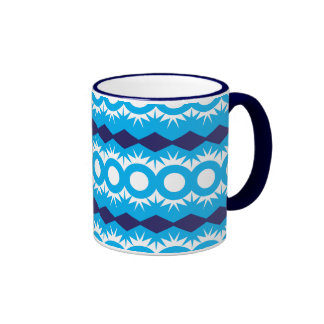 Teal Turquoise Blue Geometric Pattern Design Ringer Coffee Mug