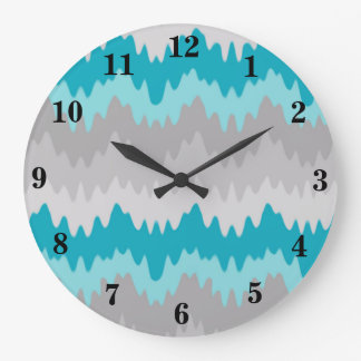 Teal Turquoise Blue Grey Gray Chevron Ombre Fade Large Clock