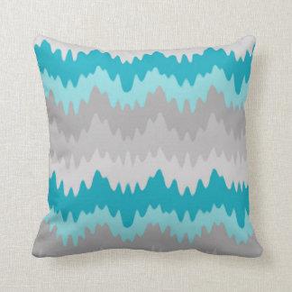 Teal Turquoise Blue Grey Gray Chevron Ombre Fade Throw Pillow