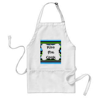Teal Turquoise Blue Lime Green Stripes Polka Dots Adult Apron