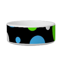 Teal Turquoise Blue Lime Green Stripes Polka Dots Bowl