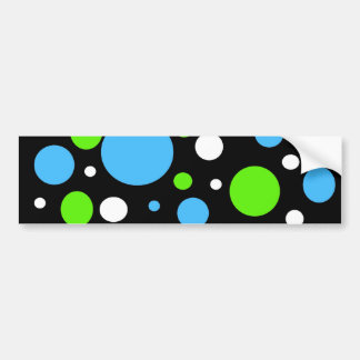 Teal Turquoise Blue Lime Green Stripes Polka Dots Bumper Sticker