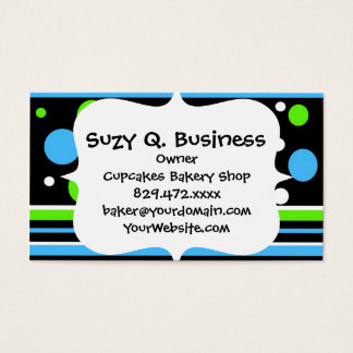 Teal Turquoise Blue Lime Green Stripes Polka Dots Business Card