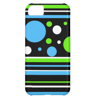 Teal Turquoise Blue Lime Green Stripes Polka Dots Case For iPhone 5C