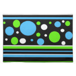 Teal Turquoise Blue Lime Green Stripes Polka Dots Cloth Placemat