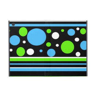 Teal Turquoise Blue Lime Green Stripes Polka Dots iPad Mini Cover
