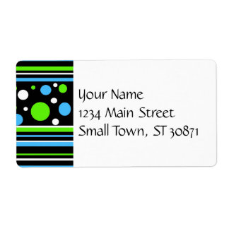 Teal Turquoise Blue Lime Green Stripes Polka Dots Label