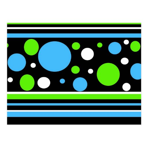 Teal Turquoise Blue Lime Green Stripes Polka Dots Post Card