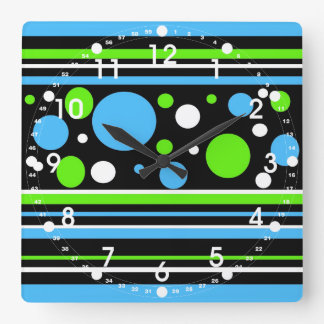 Teal Turquoise Blue Lime Green Stripes Polka Dots Square Wall Clock