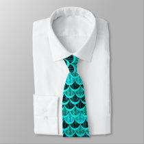 Teal Turquoise Blue Mermaid Scales Pattern Neck Tie