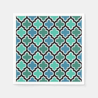 Teal Turquoise Blue Moroccan Quatrefoil Pattern Paper Napkin