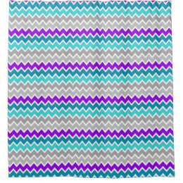 Teal Chevron Shower Curtains Zazzle