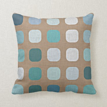 CozyLivin Teal Turquoise Blue Taupe Brown Round Squares Throw Pillow