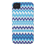 Teal Turquoise Blue Tribal Pattern iPhone 4 Case