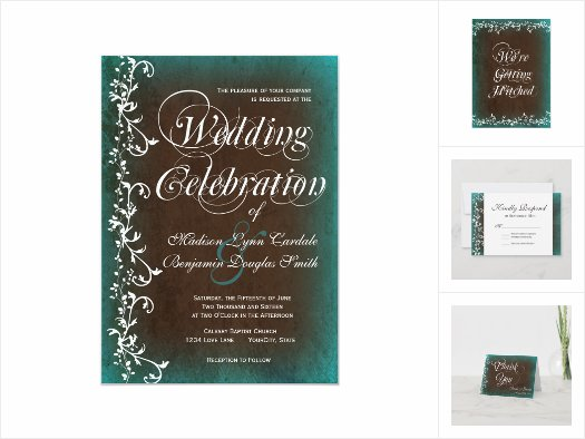 Teal Turquoise Brown Swirl Wedding Invitation Set