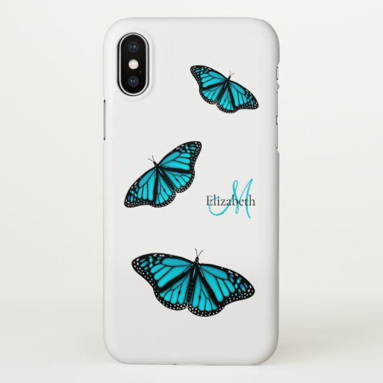 teal turquoise butterflies personalized iPhone x case