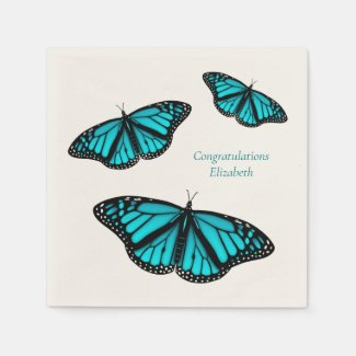 teal turquoise butterflies personalized napkins