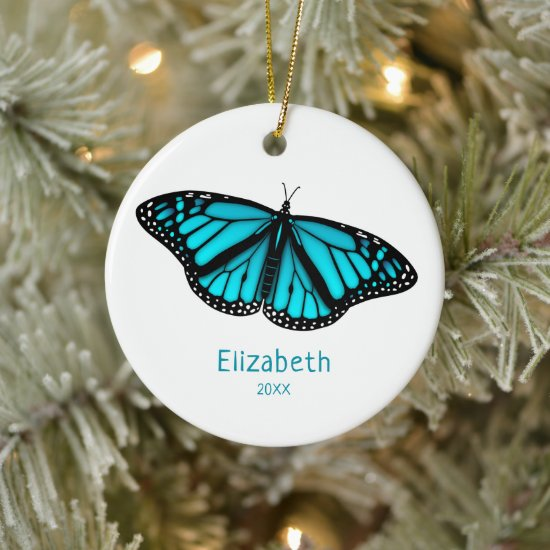 teal turquoise butterfly personalized ceramic ornament