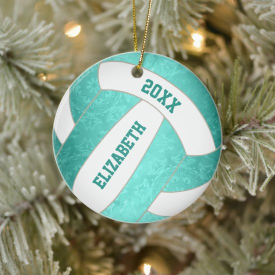 teal turquoise colorful girly volleyball ceramic ornament