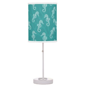 Beach Themed Teal Turquoise Coral Reef Seahorse Table Lamp