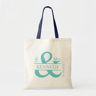 Teal Turquoise Custom Newly Weds Wedding Favor Budget Tote Bag