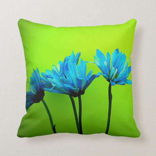 Teal Turquoise Daisies Flowers Lime Green Pillow Zazzle Com