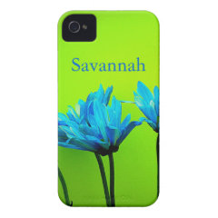 Teal Turquoise Daisies on Lime Green Flowers Case iPhone 4 Case-Mate Cases