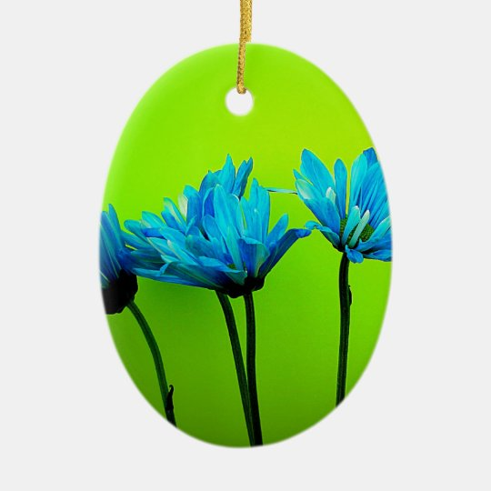 Teal Turquoise Daisies on Lime Green Flowers Gifts Ceramic Ornament